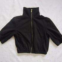 Express Design Studio 3/4 Puffy Sleeves Turtleneck Black Cropped Jacket  Size S Photo
