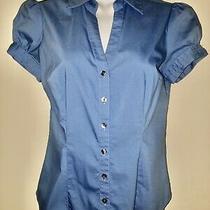 Express Design Studio Baby Blue Short Sleeve Button Down Shirt Sz Xs Used Photo