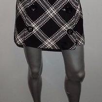Express Design Studio Black/ivory Plaid Button Wool Blend Faux Wrap Skirt Sz 8 Photo