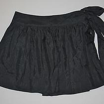 Express Design Studio Black Silk Stretch Lined Side Zip & Tie Skirt Size 6 Photo