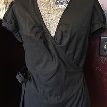 Express Design Studio Black Tie Blouse Large Short Sleeve Photo