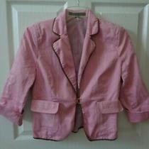 Express Design Studio Blazer Size 4 Pink/multi Striped Fitted Lined Jacket Photo