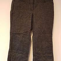 Express Design Studio Editor Black & White Tweed Plaid Stretch Capri Pants 6 Photo
