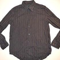 Express Design Studio Men Dress Shirt Designer Black Striped Xl 17-17.5 Id27 Photo