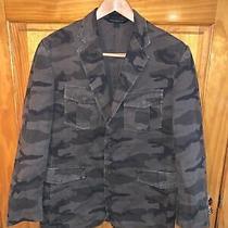 Express Design Studio Men's Sz Large Camo Blazer Sport Coat Jacket Brown Green Photo