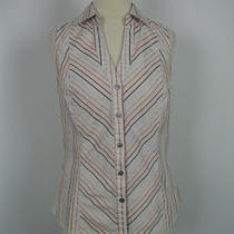 Express Design Studio Multi-Color Striped Button Down Top S Photo