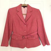 Express Design Studio  Pink Tweed Belted Button Up Blazer  Jacket Size 4  Nwt Photo
