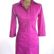 Express Design Studio S 4 Pink Purple 3/4 Sl Empire Ruched Button Shirt Dress Ln Photo