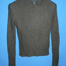 Express Design Studio S Dark Brown Cable Knit Sweater Merino Wool Cashmere Sm Photo