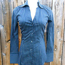 Express Design Studio Sexy Button Down Striped Designer Shirt Photo