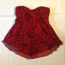 Express Design Studio Size 6 Womens Strapless Red Black 100% Silk Summer Top  Photo