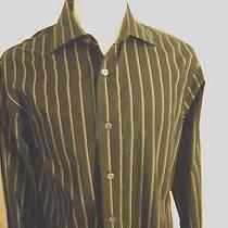 Express Design Studio Stretch Black With Gray Stripe Mens Dress Shirt Large Photo