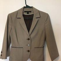 Express Design Studio Striped Brown Suit Jacket Size 2 3/4 Sleeve Photo