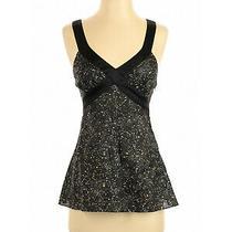 Express Design Studio Sz Xs 100% Silk Black & White Sleeveless Tank Top Blouse Photo