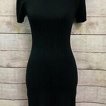 Express Design Studio Sz Xs Black Turtleneck Sweater Dress Short Cap Sleeve Photo