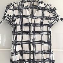 Express Design Studio T-Shirt Black White Button Down Short Sleeve Top Blouse Xs Photo