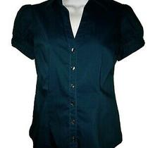 Express Design Studio Teal Short Sleeve Button Down Essential Shirt Sz Xs Used Photo