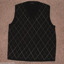 Express Design Studio v-Neck Sweater Vest Black Xl Merino Wool Argyle Photo