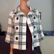 Express Design Studio White Black Plaid Double Breasted Blazer Acrylic Size 2 Photo