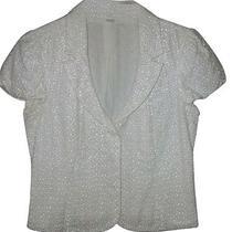 Express Design Studio White Eyelet Short Sleeve Jacket - Size 10 Photo