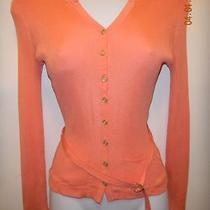 Express Design Studio-Women S-100% Silk Button Down Top-Belt-Orange-2 Pkt-Ribbed Photo