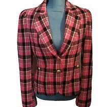 Express Design Studio Women's Pink Plaid Blazer Jacket Size 8- C35 Photo