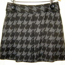 Express Design Studio Womens Black/gray Houndstooth Flared Stretch Skirt Size 6 Photo