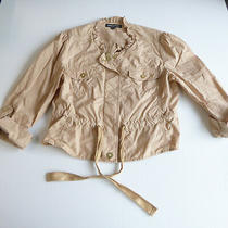 Express Design Studio Womens Jacket Tan Khaki Size 6 Zipper Cinch Waist Photo