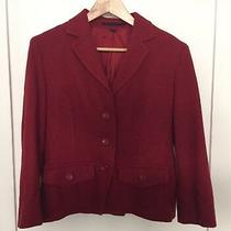 Express Design Studio Wool Solid Red 3 Button Blazer Jacket Sport Coat Sz 12 Photo