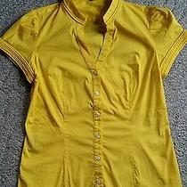 Express Design Studio Yellow Top Medium Button Up Blouse Photo