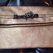 Express Designer Soft Bronze Clutch Zip Fold Over Handbag Metal Chain Accents Eu Photo