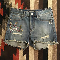 Express Distressed Blue Jeans Denim Shorts High Rise Shortie Size 2 Rhinestone Photo
