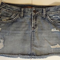 Express Distressed Denim Jean Skirt Size 6 Womens Juniors Mini Photo