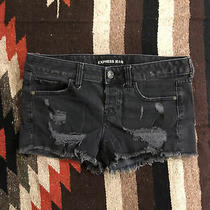 Express Distressed Denim Shorts Mid Rise Sz 2 Black Jeans Stretch Denim Photo