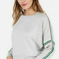 Express Dolman Cropped Gray With Rainbow Striped Sleeve Sweatshirt Size Large Photo