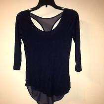 Express Double Layer Blue 3/4  Sleeve Shirt Racer Back Sheer/ Cotton Xs Photo