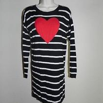 Express Dress Black White Striped Red Heart Small Womens Nwot Photo