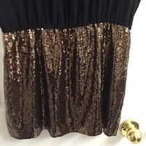 Express Dress Black With Gold Sequins Size Small Photo