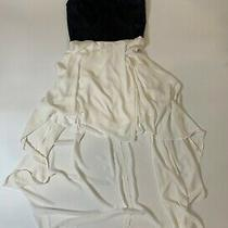 Express Dress High Low Black Faux Leather Top White Silk Bottom Small Size 8 Photo