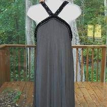 Express Dress M 8 Graphite Gray Black Knit Jet Beads Halter Jewelry Club Party Photo