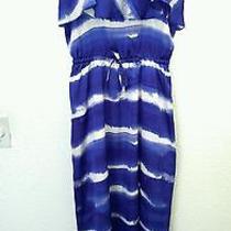 Express Dress Medium M Blue White Dip Dye Print Hi-Lo Ruffle Silky Euc 32 Photo