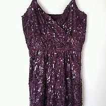 Express Dress Medium M Plum Purple Sequins Spaghetti Strap Euc 58 Photo