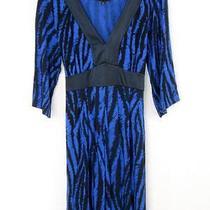 Express Dress Medium M Royal Blue Zebra Animal Print Tie-Back Knit Euc 1 Photo