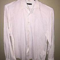 Express Dress Shirt White Red Pin Stripe Men's Size Xl Photo