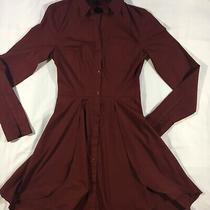 Express Dress Size 00 Poplin Shirt Dress Maroon Merlot Red Photo