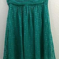 Express Dress Size 10 Mint Green Polka Dot Babydoll Strapless Floaty Euc 64 Photo