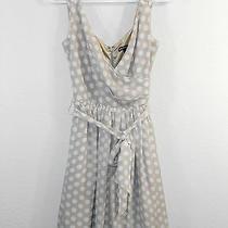 Express Dress Size 4 Beige White Polka Dots Floaty Sleeveless Tie Belt Euc 62 Photo