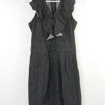 Express Dress Size 4 Black White Polka Dot Ruffle Cotton No Belt Euc 23 Photo