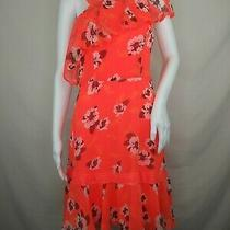 Express Dress Size 6 Sundress Floral Sheer Lined Sleeveless Orange Euc Photo