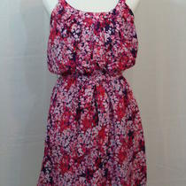 Express Dress Size M a-Line Purple Pink Floral Lined Spaghetti Strap Euc Photo